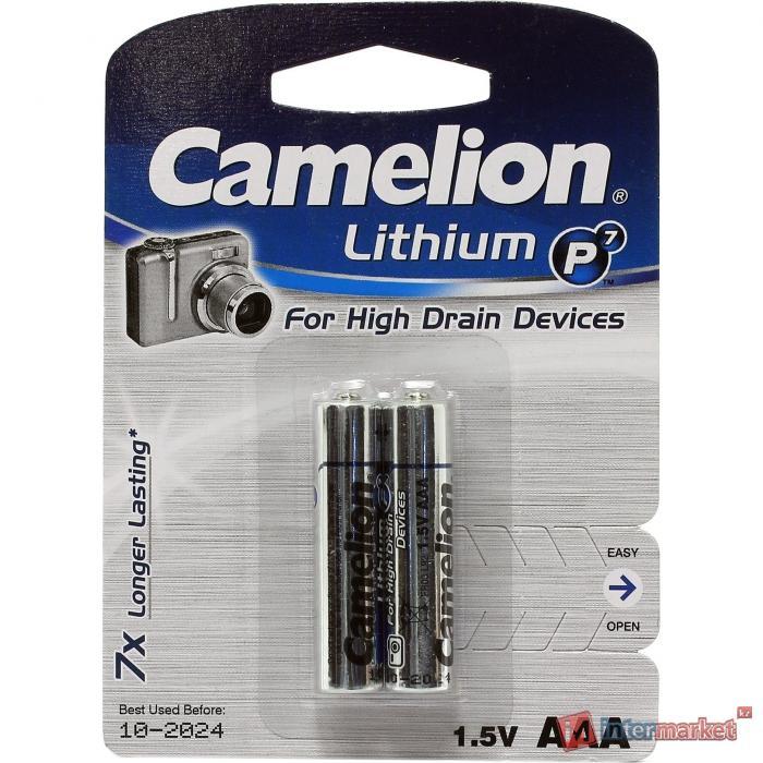Батарейки Camelion AAA (FR03-BP2), Lithium, комплект - 2 штуки